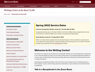writingcenter.missouristate.edu screenshot