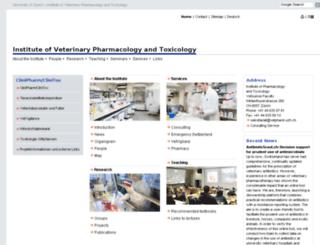 www-vetpharm.unizh.ch screenshot