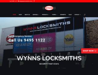 wynnslocksmiths.com.au screenshot