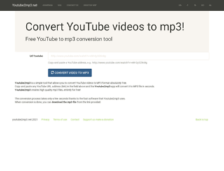 youtube2mp3.net screenshot