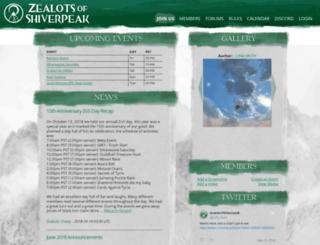 zealotsofshiverpeak.com screenshot