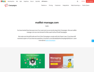 zoho.maillist-manage.com screenshot