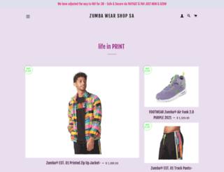 zumbawear.co.za screenshot