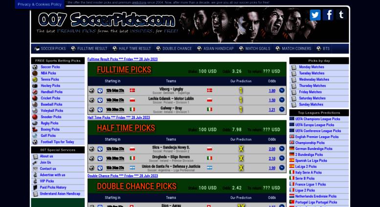 Access 007soccerpicks com  007 Soccer Picks, Free Betting