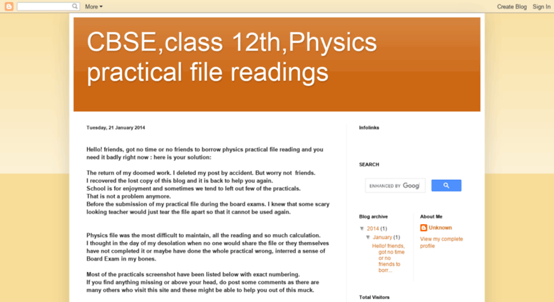 Access 12tphysicspracticalfilereadings blogspot in  CBSE,class 12th