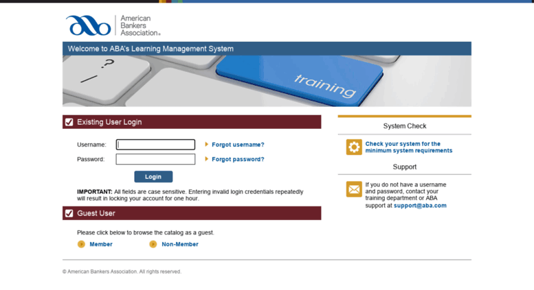 Access aba csod com  Welcome to ABA's Learning Management System
