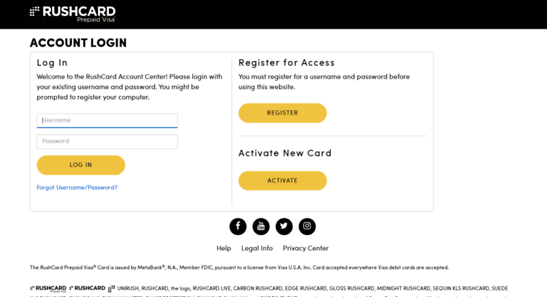 Access account rushcard com  Account Login | RushCard