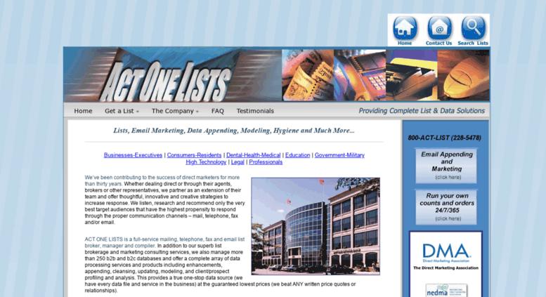 Access actonelists com  mailing lists, email list