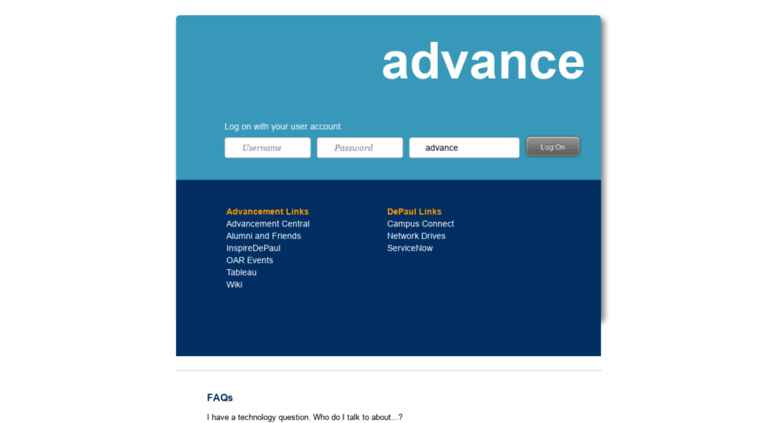 Access advance depaul edu  Ellucian Advance™ 9 8 2 1