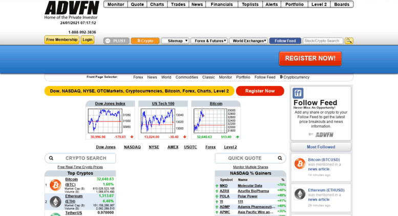 Access advfn co uk  Free stock prices, quotes, stock charts, market