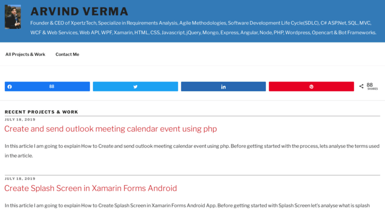 Access adzsol com  Arvind Verma - C# ASP Net,MVC,SQL,Xamarin