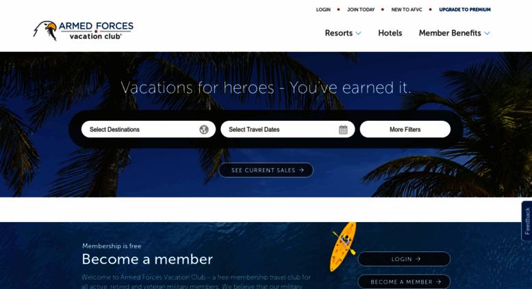 Military Vacation Deals >> Access Afvclub Com Armed Forces Vacation Club Afvclub Com