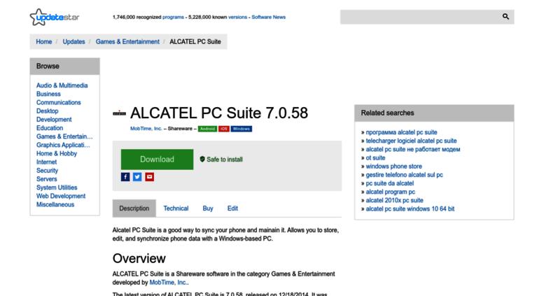 Скачать alcatel pc suite