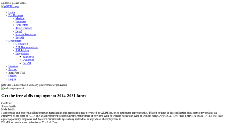 Access Aldi Application Form Pdffiller Com 2014 2018 Form Aldi