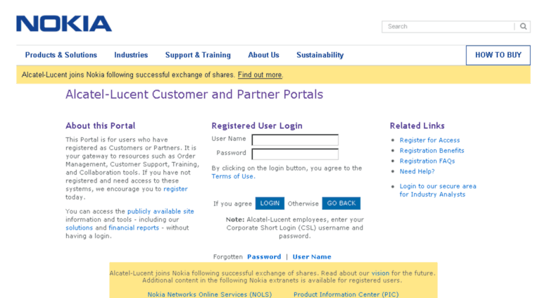 Access alerts alcatel-lucent com  Sign In/Register to the