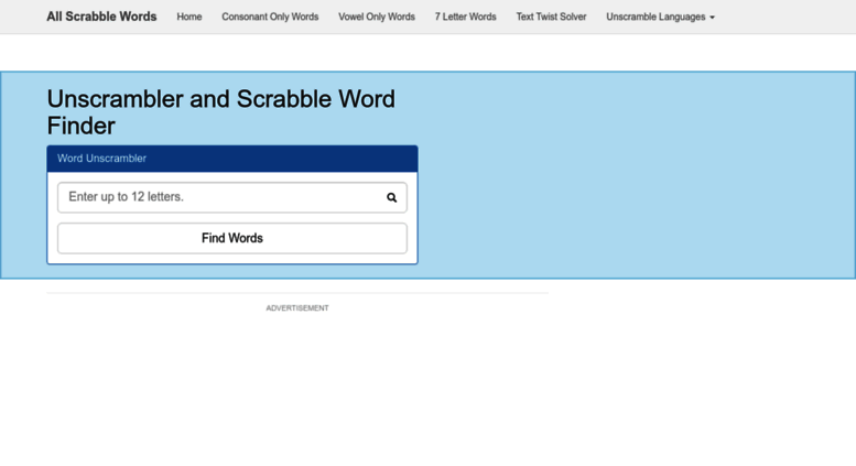 Access allscrabblewords Unscrambler