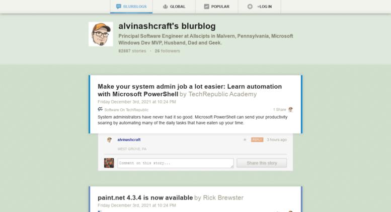 Access alvinashcraft newsblur com  alvinashcraft's blurblog