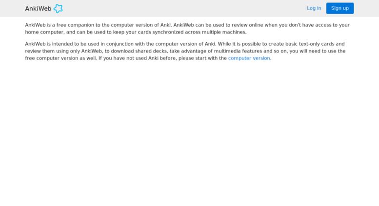 Access anki ichi2 net  About - AnkiWeb