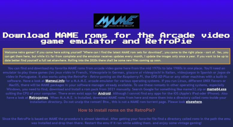 Access ankman de  MAME roms download, also for the RetroPie - Arcade