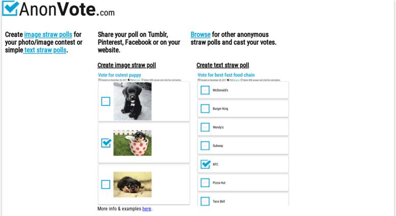 Access anonvote com  Create free image straw polls - AnonVote com