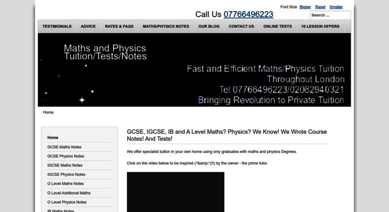 Access astarmathsandphysics com  A* Maths/Physics Tuition