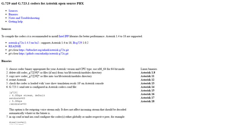 Access asterisk hosting lv  Asterisk codecs G 729 G 723 1