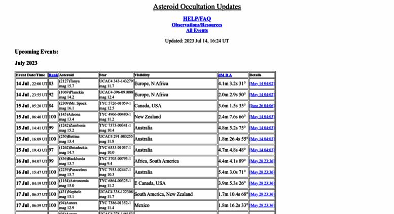 Access asteroidoccultation com  Asteroid Occultation