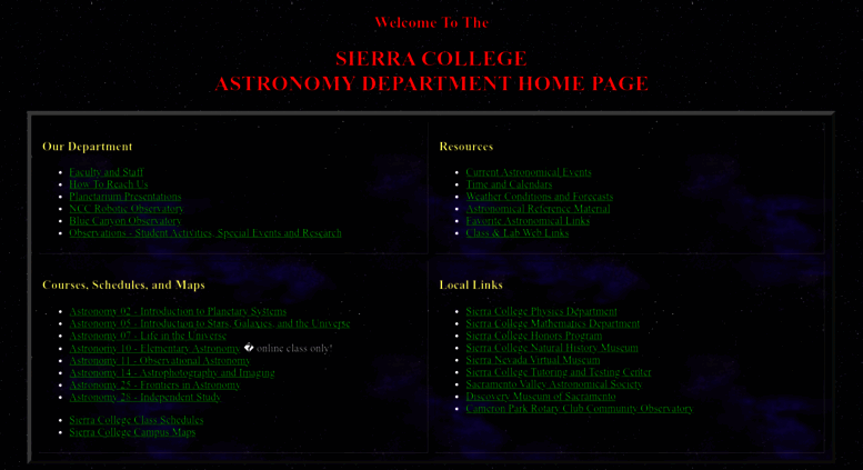 Access Astronomy Sierracollege Edu Sierra College Astronomy Home Page