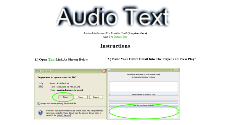 Access audiotext sourceforge net  Audio Text - For Proxy and