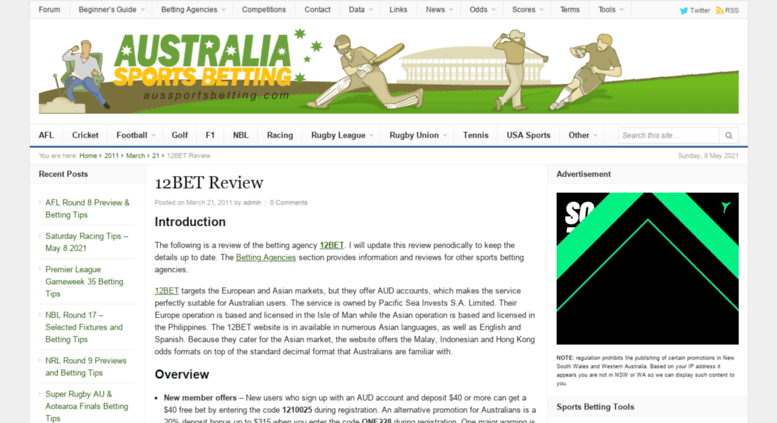 Access aussportsbetting com au  Australia Sports Betting