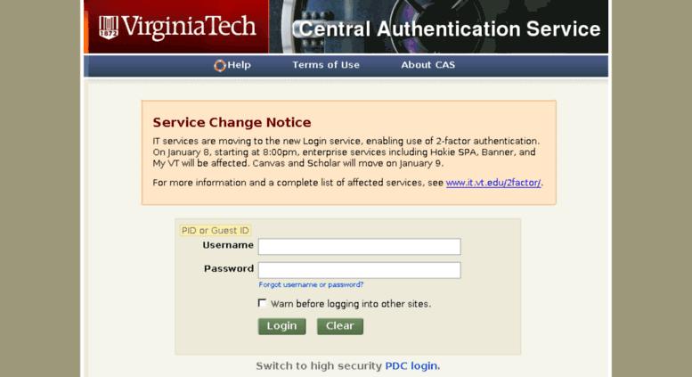Access Authvtedu Virginia Tech Central Authentication Service