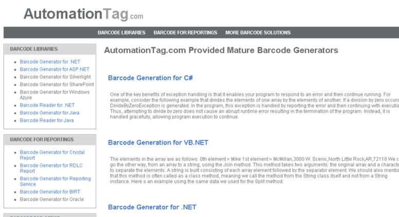 Access automationtag com  Barcode Generator, Reader SDK