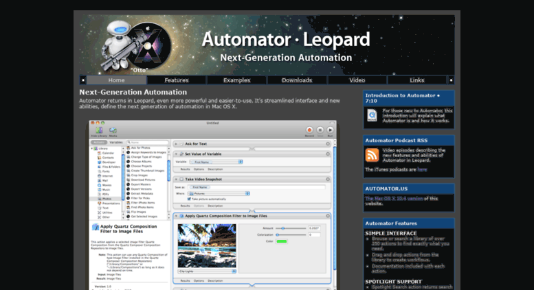 Access automator us  Automator in Leopard