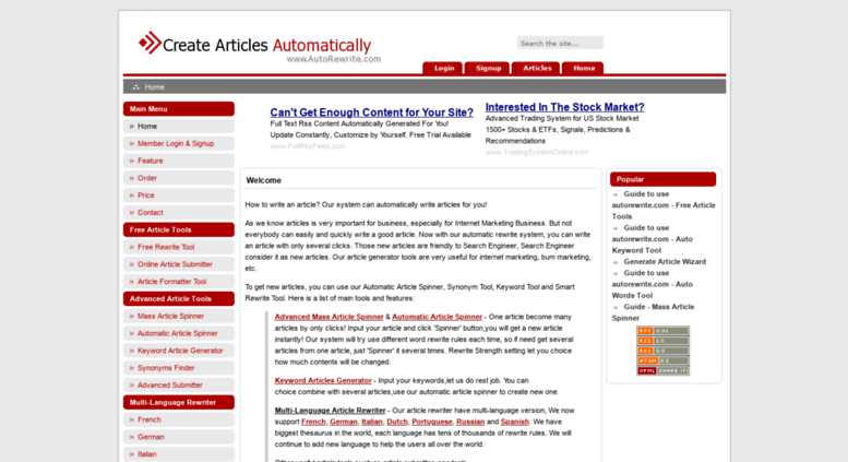 Access autorewrite com  Automatically Write Articles for Free