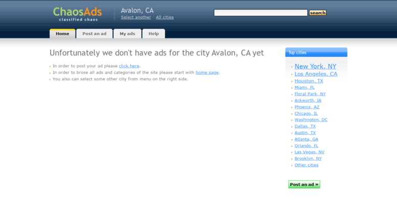Access avalon-ca chaosads com  Free classifieds ads in USA