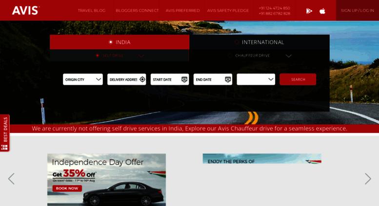 Access Avis Co In Rent A Car Car Rental Online In India