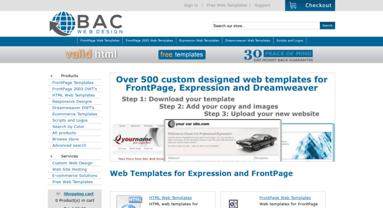 Access Bacwebdesign Web Templates For Expression And Front Page