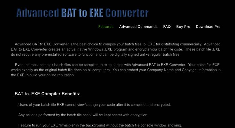 Access battoexeconverter com  Advanced BAT to EXE Converter v4 11