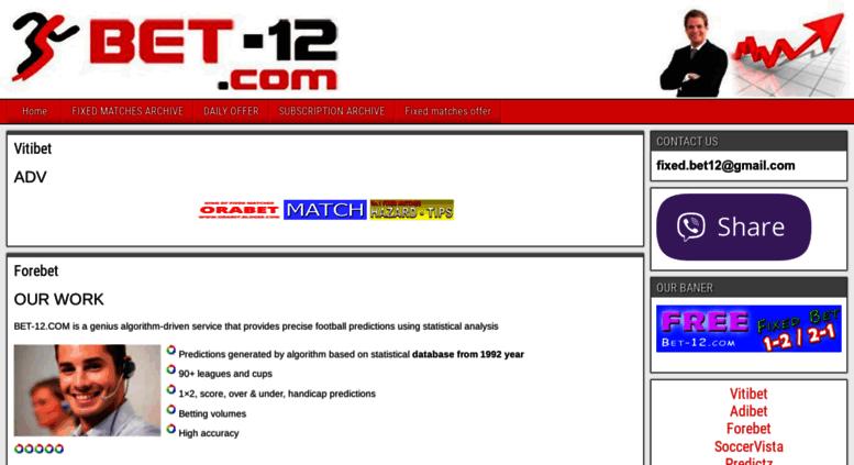 Access bet-12 com  Vitibet Adibet Forebet SoccerVista Predictz Fixed