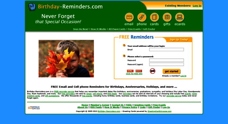 Access Birthday Reminders Free Reminder Service