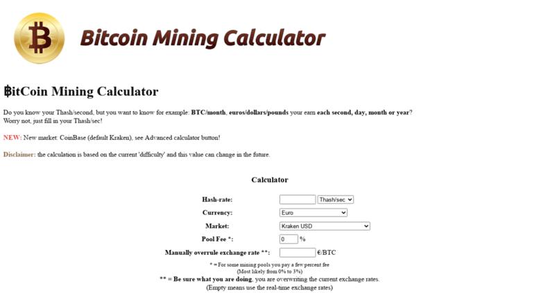 Mining Coin Calculator