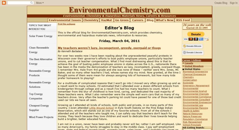 Access blog environmentalchemistry com  Editor's Blog