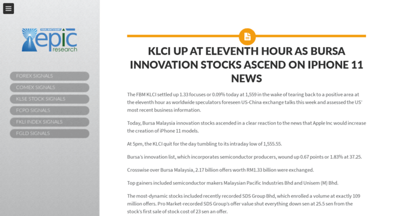 Access blog epicresearch my  KLSE Daily Stock Signals |KLSE