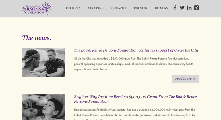 Access blog tbrpf org  News about the Bob & Renee Parsons Foundation