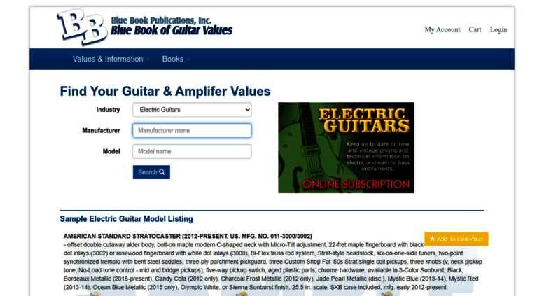 Access bluebookofguitarvalues com  Blue Book of Guitar Values