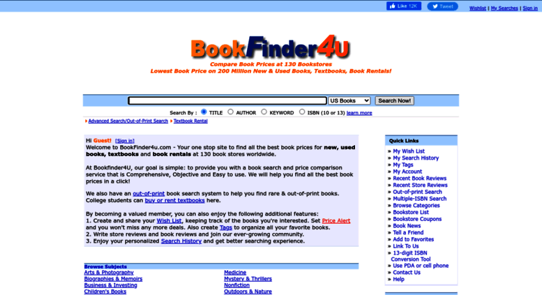 Cheap Book Rentals >> Access Bookfinder4u Com Bookfinder4u Compare Book Prices At 130
