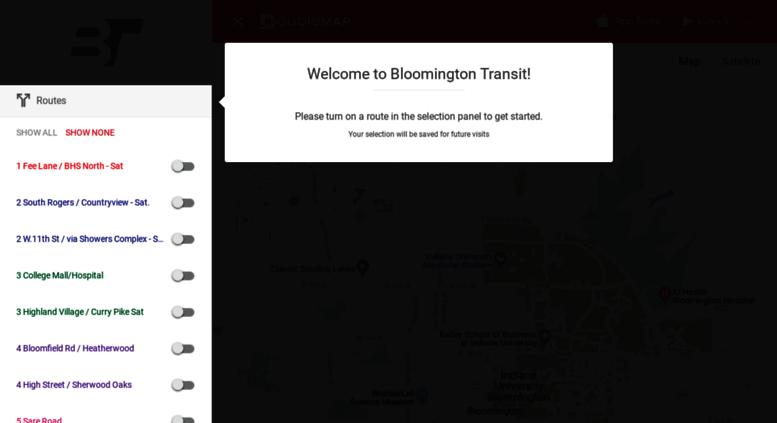 Access bt.doublemap.com. DoubleMap - Bloomington Transit on