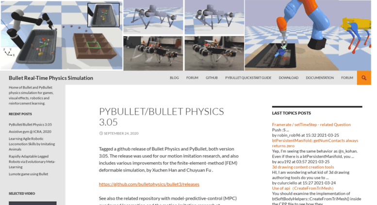 Access bulletphysics org  Bullet Real-Time Physics