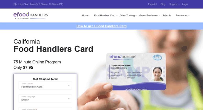 access cafoodhandllers california food handlers card