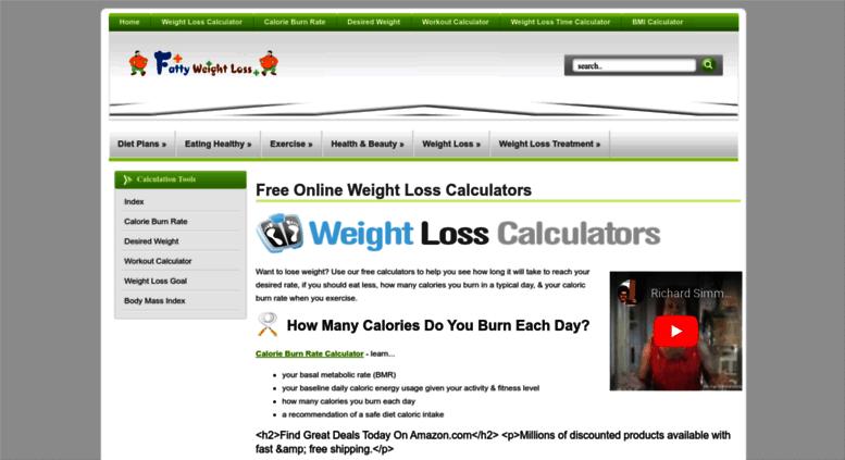 Access calculators fattyweightloss com  Weight Loss